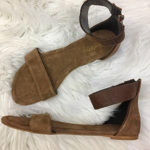 Sundance brown suede ankle strap sandals